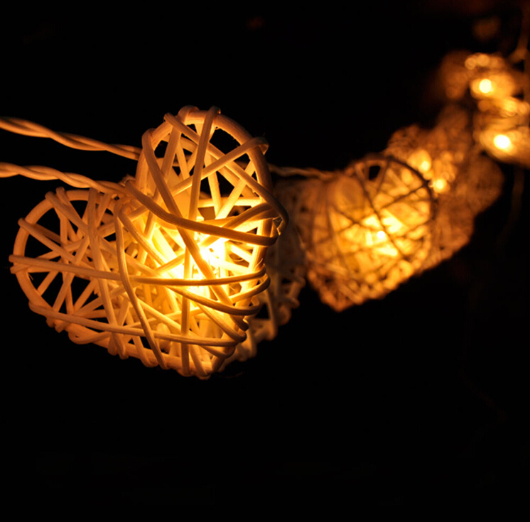 Design With String Lights : Hot Handmade Natural White Rattan Heart Design String Lights For Fairy Party Decor Wedding ...