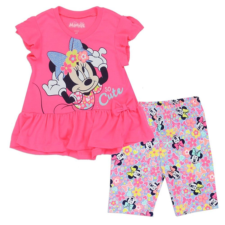 Minnie Mouse Girls 2-4T 2-Piece Biker Short Set. Cute Pink Toddler Girls