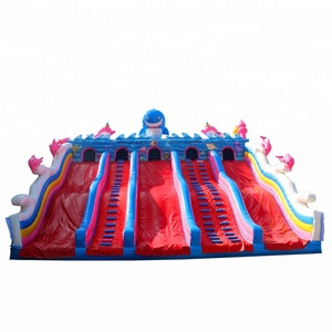Large water park whale theme PVC0.55mm inflatable slip n slide inflatable slides for kids and adults 2018