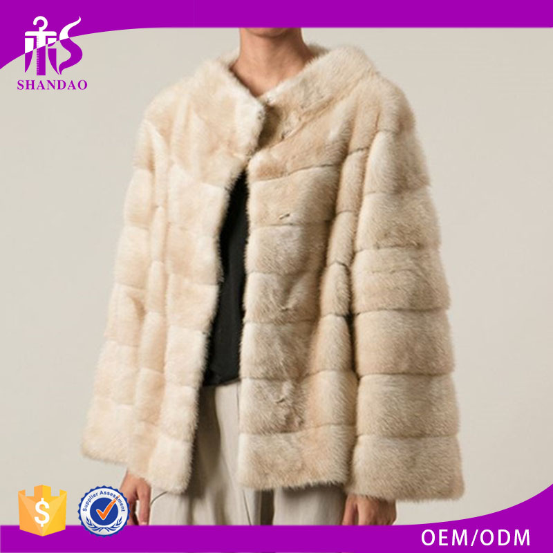 Winter Wear High Quality Cheap Price Embossed Mink Fur Casual Female Coat