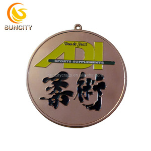 High quality custom 2D logo sports medals marathon sports supplements jujitsu antique plated with ribbon metal medal