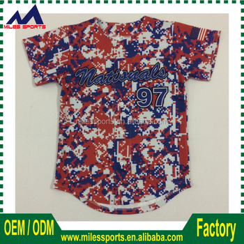 2017 groothandel Polyester Dri Fit sublimatie custom camo Baseball Jersey