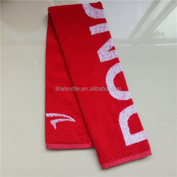 Red large size jacquard hand towel with white woven logo