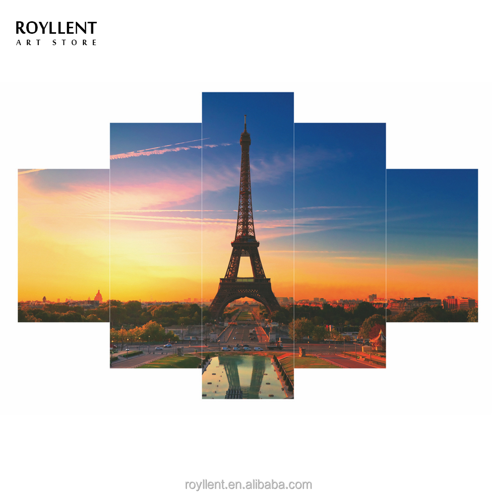 5 Panel Canvas Wall Art Paris Eiffel Tower Room Scenery Painting Frame <strong>Picture</strong> Printed Modern Home Decor Hotel Wholesale RA0158