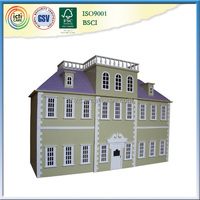 Flat Roof Big Dollhouse Plans Wooden Children Toys