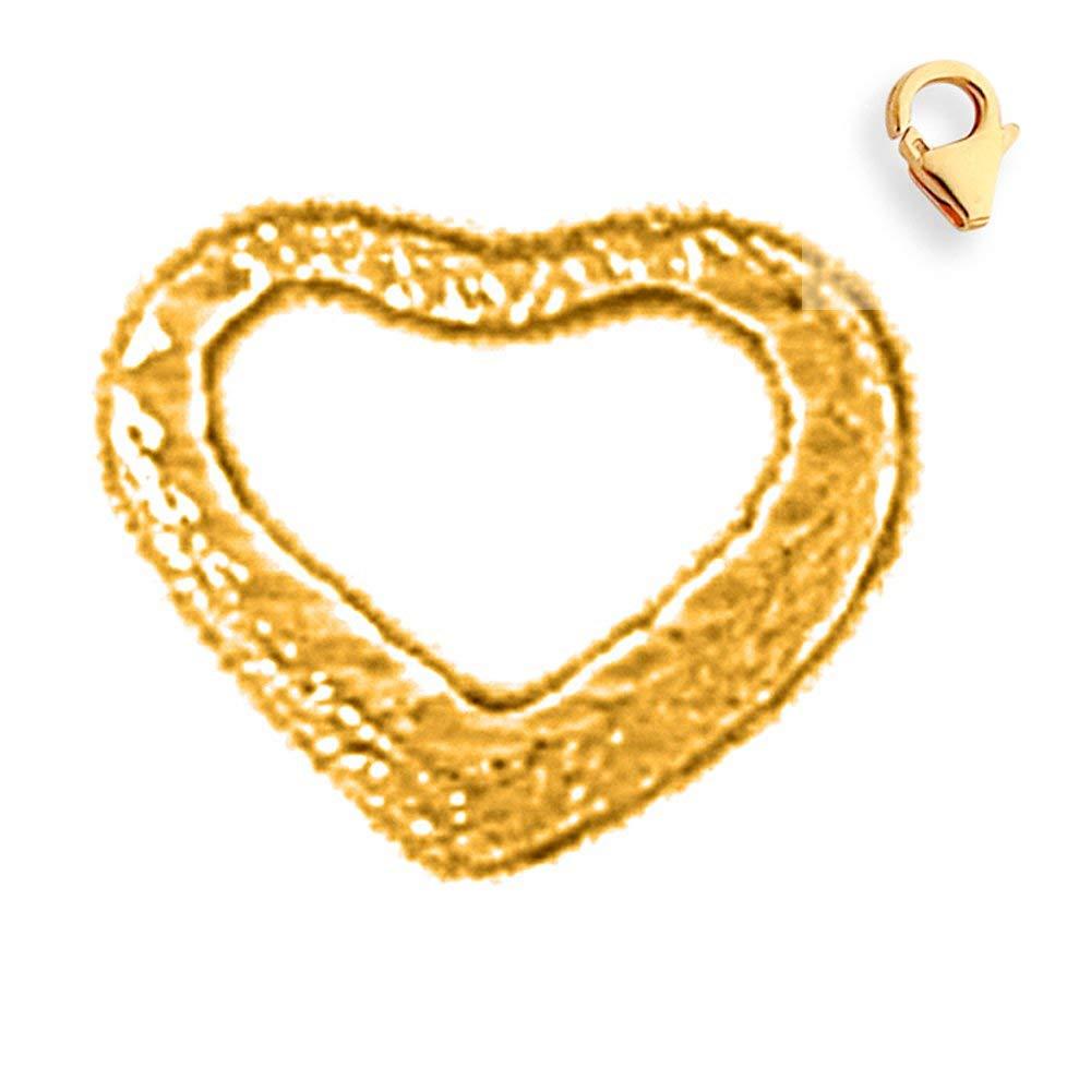 9mm 14K White Gold Floating Heart Charm