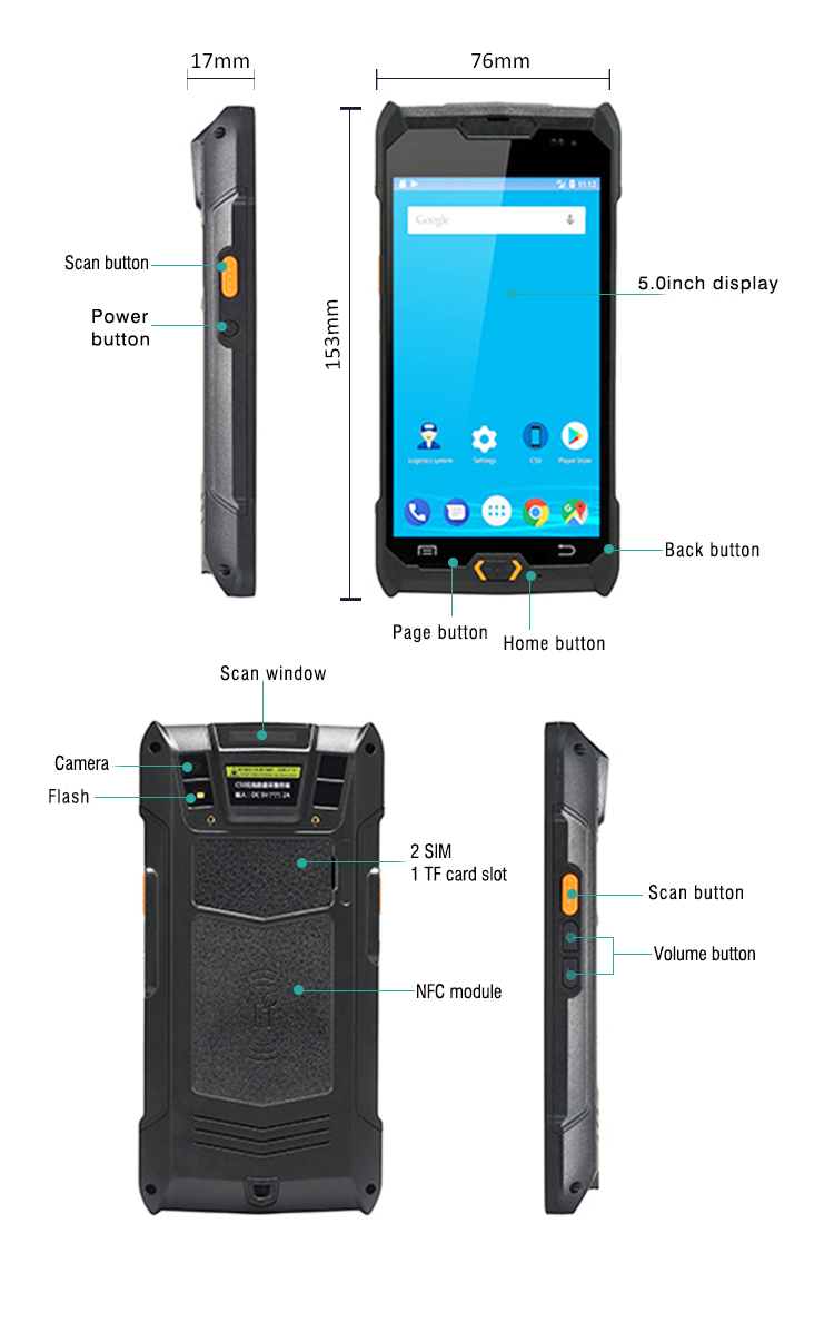 Android 5.0 Bluetooth Handheld Portable Vibration Scanner PDA NFC Personal Digital Assistant C50