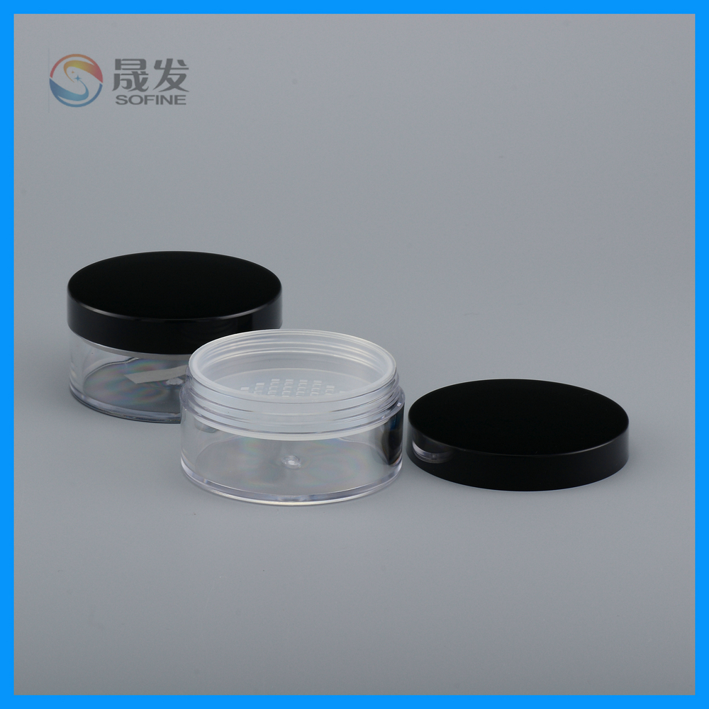 Beauty fashion product loose jar colorful clear jar and bottle for powder