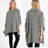 Plus Size Fat Women Clothing Black / White Stripe High Neck 3/4 Sleeve Dolman fringe Top