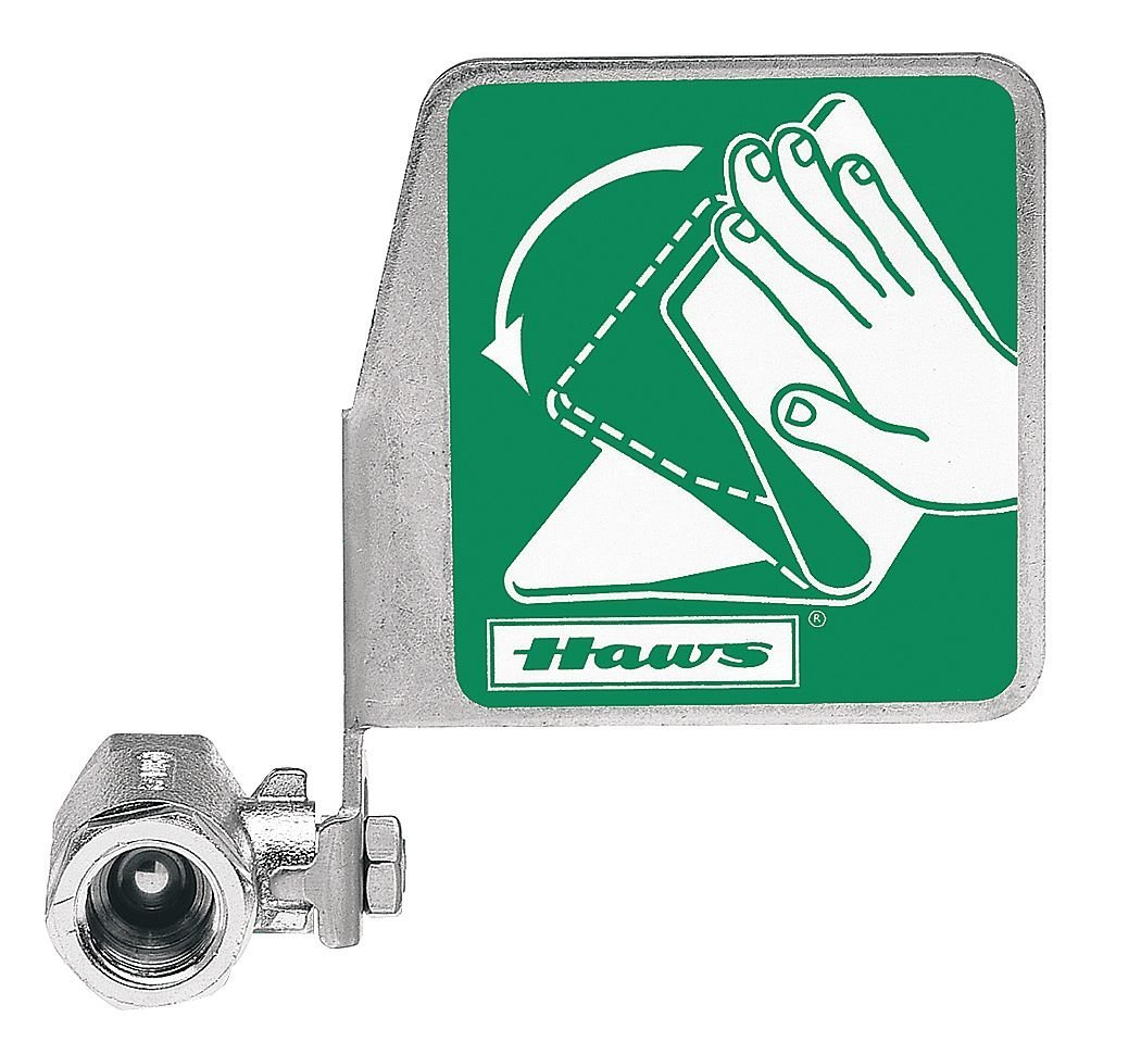 "Haws SP229, Push Flag, Stay-Open Ball Eyewash Valve Assembly, Chrome-Plated Brass, Horizontal Mount, 1/2"" FIPS Inlet x 1/2"" FIPS Outlet"