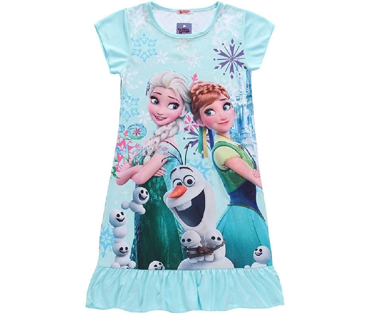 Get Quotations · Girls Anna Elsa Olaf Sparkly Frozen Forever Nightgown e6d437a9e