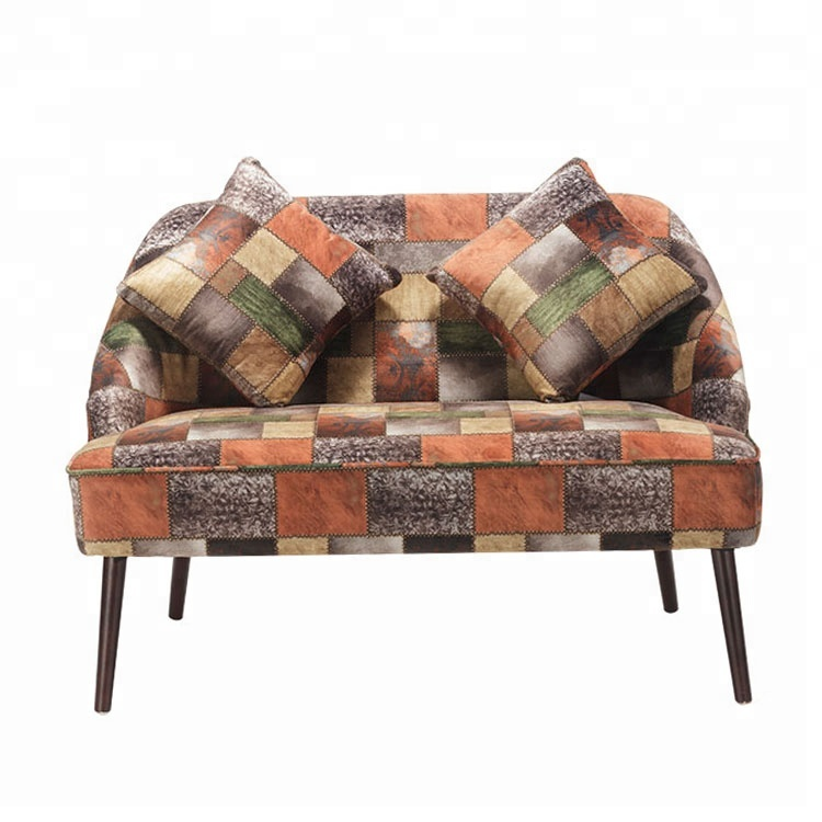 Printed Fabric Wood Two Seater