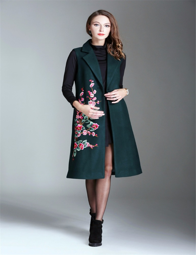 Winter Dark Green Alibaba Woman Embroidered 2017 Ladies Sleeveless Trench Coat