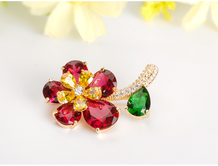 Tryme Multicolor Cubic Zircon Luxury Flower Brooch For Wedding Invitations