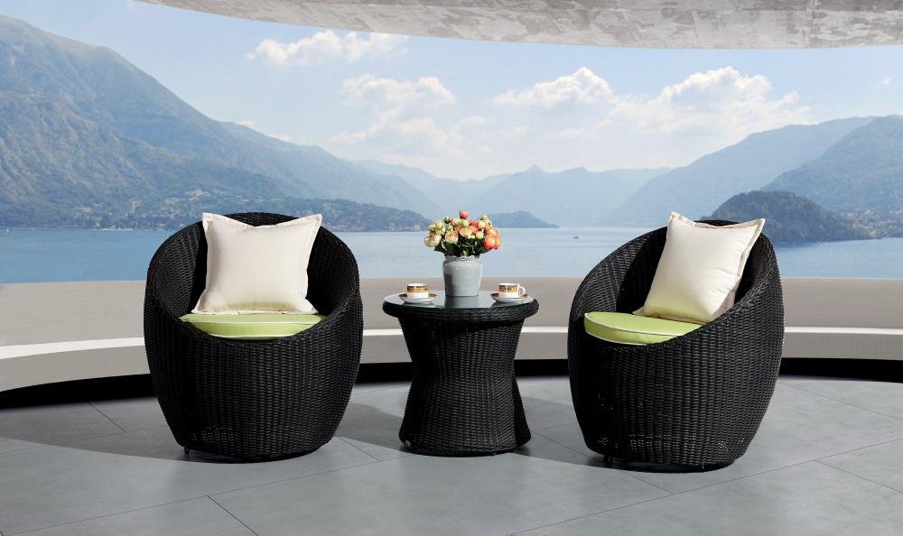 balcony garden outdoor glass woven rattan coffee table