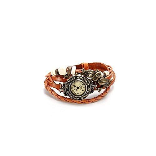 FuzzyGreen Women Ladies Girls Vintage Owl Pendant Leather Band Quartz Analog Bracelet Wrist Watch Orange