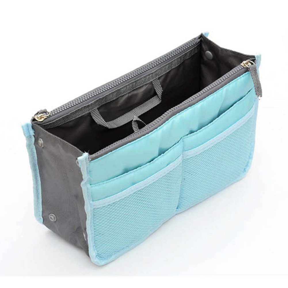Eforstore New Women Travel Insert Handbag Organiser Gadget Purse Organizer Expandable Tidy Bag Nylon Makeup Cases Double Zipper Cosmetic Tote Travelling Bags with Handles (Blue)
