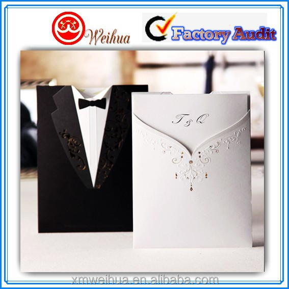 Handmade Folded Wedding Formal Dress shape Wedding Invitation Card