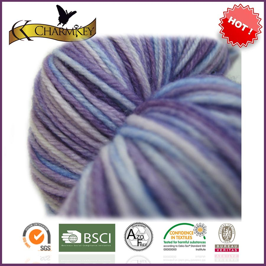 Cheap price beautiful color combinations 100% superwash merino wool space dyed knitting yarn with good quality