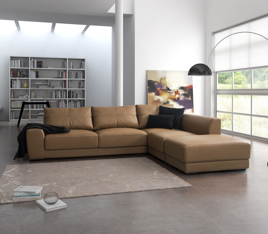 Living Room Ideas 2015 Top 5 Mid Century Modern Sofa: Modern L Shape Top Grain Heated Leather Sofa Design For
