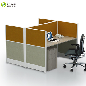 Commercial furniture general use cubicles face to face 2 seater workstation with pedestal for 2 person