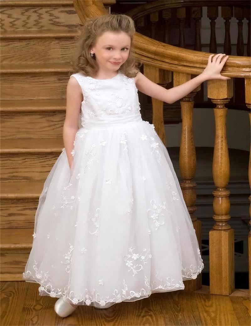 white sleeveless floor length flower girl dresses for girls wedding gowns kids cute white tulle. Black Bedroom Furniture Sets. Home Design Ideas