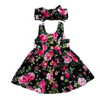 2019 New design floral dress for little girl o-nect sleeveless baby girl dress with hair band set boutique children clothing