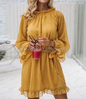 e589c6a22dd Back Lace Up Mustard Fashion Dress Chiffon Party Dresses For Girls Of 18  Years Old