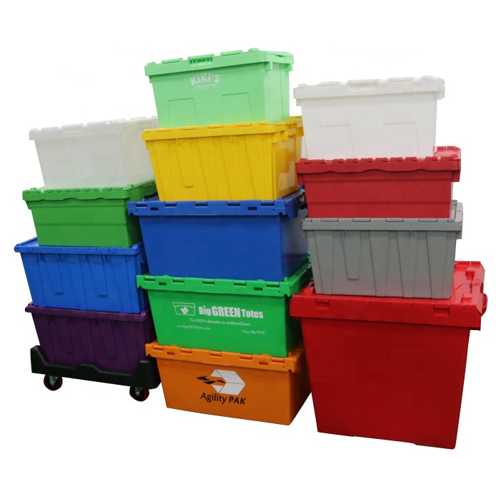 red plastic totes stackable moving crates straight wall containers