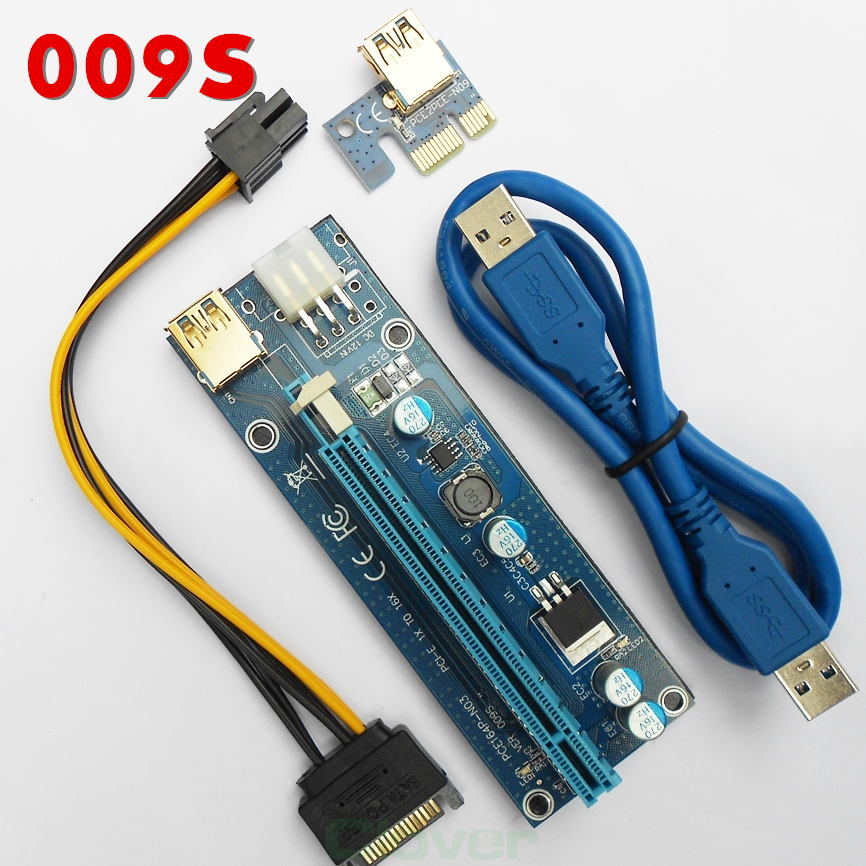 High performance simple operation pci-e 1x to 16x riser powered usb3.0 pci card 009s