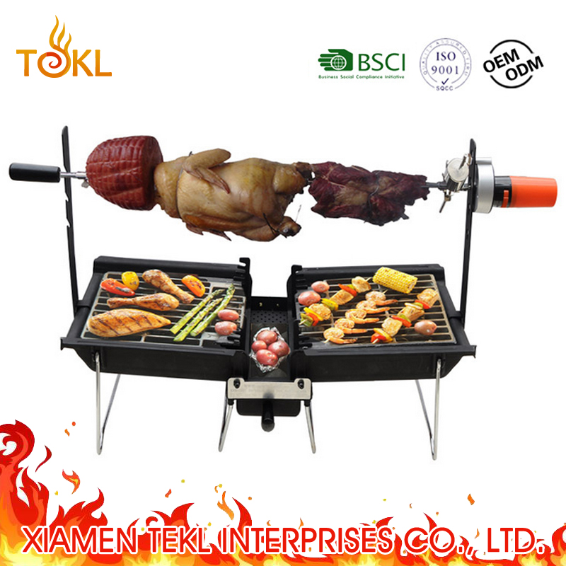 Outdoor Draagbare Opvouwbare Rotating Rotary Houtskool Rotisserie BBQ Grill