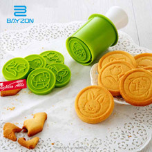 Wholesale Christmas Silicone Cookie Stamp With 5pcs Stamps Silicone Hand Press Mold with Cookie Cutter Mold Silicone Cake Mold