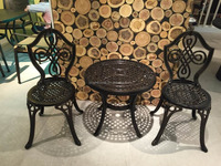 Cast Aluminum Outdoor Furniture Round Barbecue Table and Garden Chair