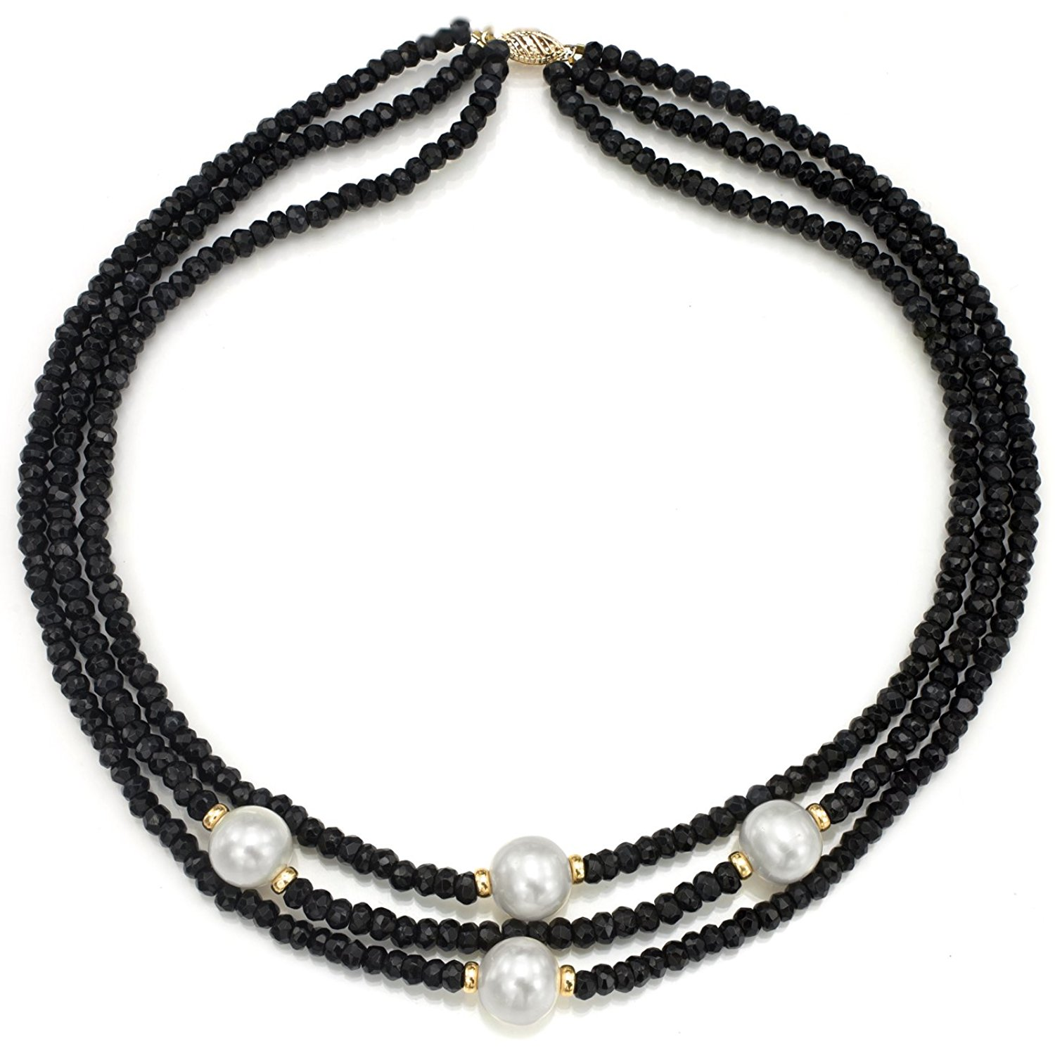 """La Regis Jewelry 14k Yellow Gold 12-12.5mm White Freshwater Cultured Pearl 3-4mm Simulated Black Onyx 3-Rows Necklace, 16"""""""