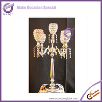 20 Inch 3 Tier Candle Holder 3 Arms Crystal Candelabra