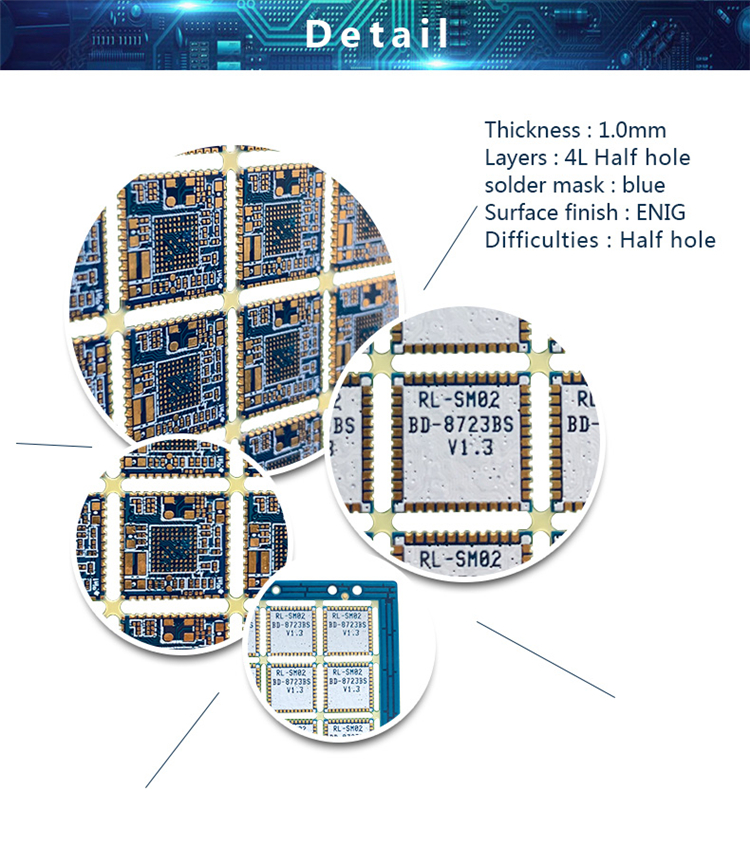 China custom made PCB manufacturing electronic PCB, hot sales blue solder mask, 1.0mm 4L half hole multilayer pcb board for 5g