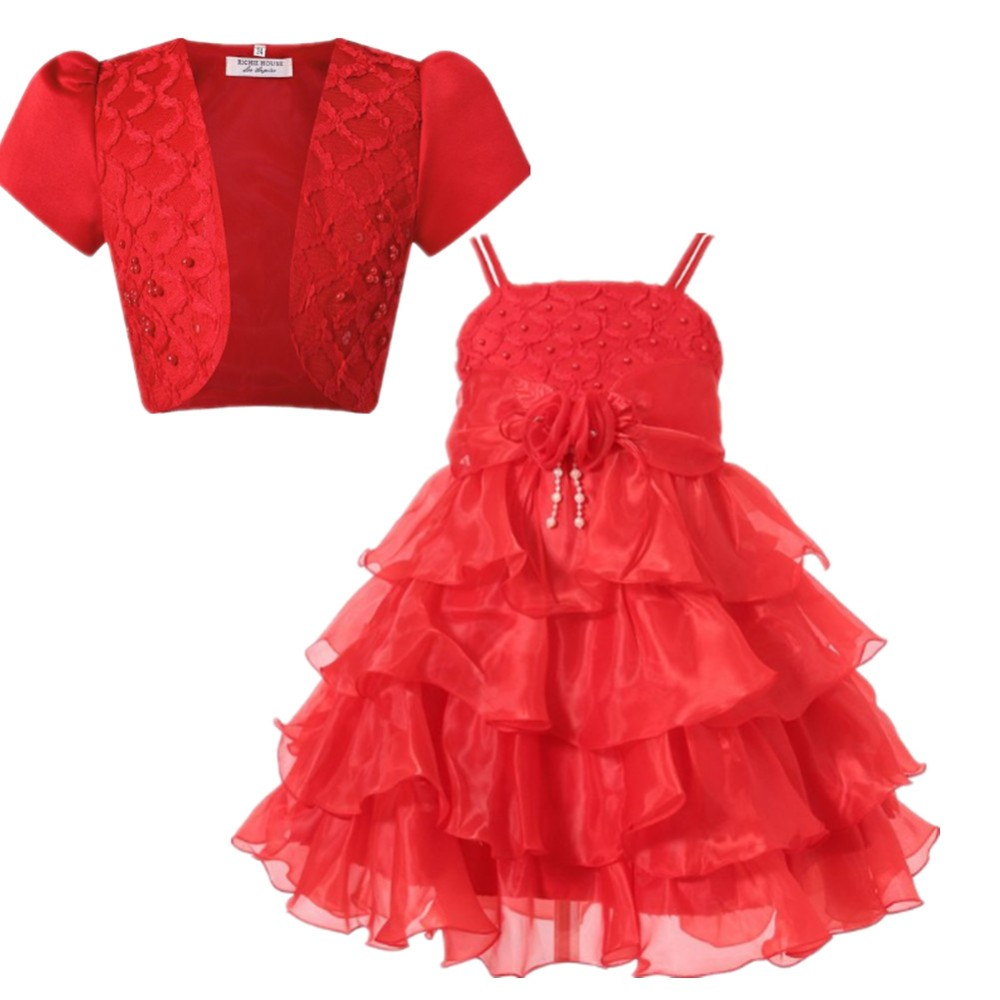 kids tulle Princess party Dress red Wedding Flower Girl Dresses With a shawl girl frock for 8 years old