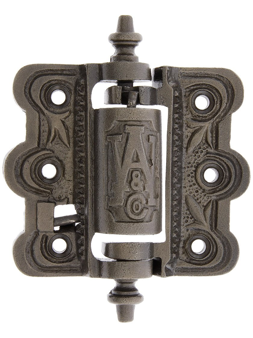 House of Antique Hardware R-06SE-0700479 Decorative Cast Iron Screen Door Hinge with Acorn Finials in Antique Iron