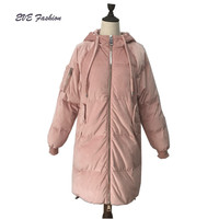 Long quilted mercerized velvet down jacket for winter women with hood