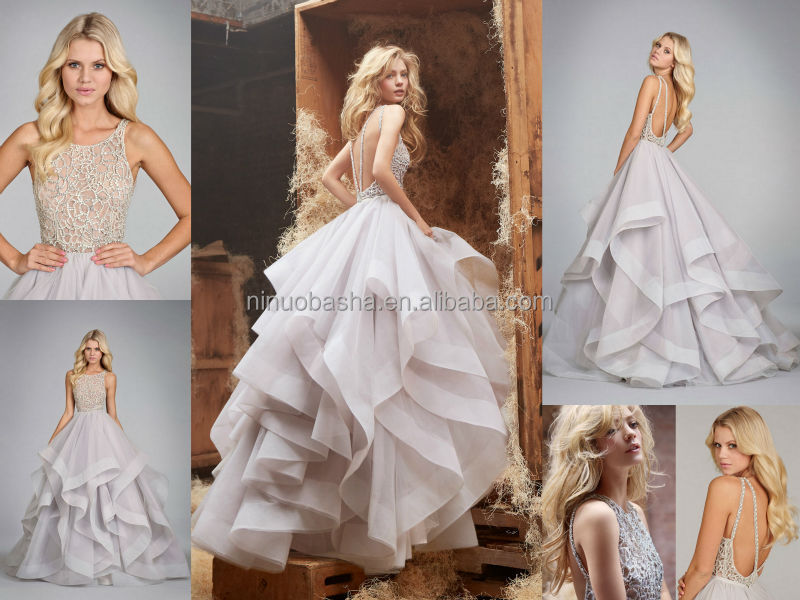 Exquisite Ball Gown Wedding Dress Scoop Neck Backless Heavily Crystal Tiered Skirt Organza Bridal Top