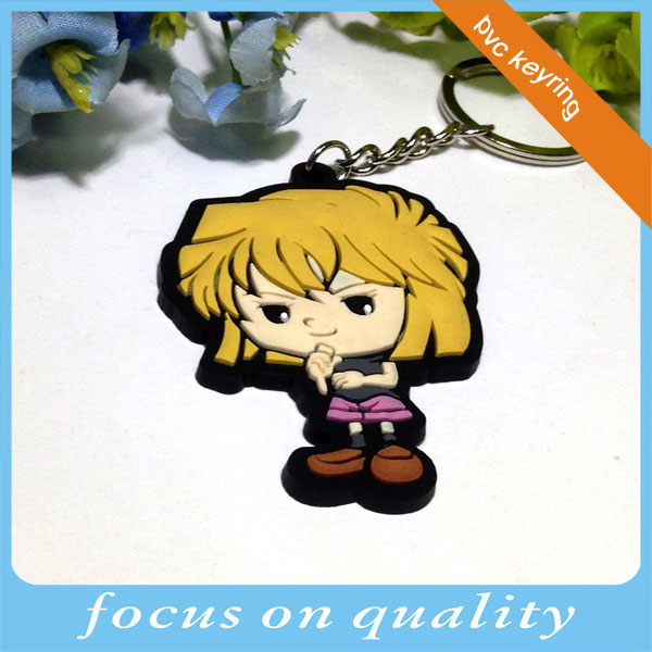 high quality micro injetion cute cartoon customized rubber flexible vinyl keyring for gifts