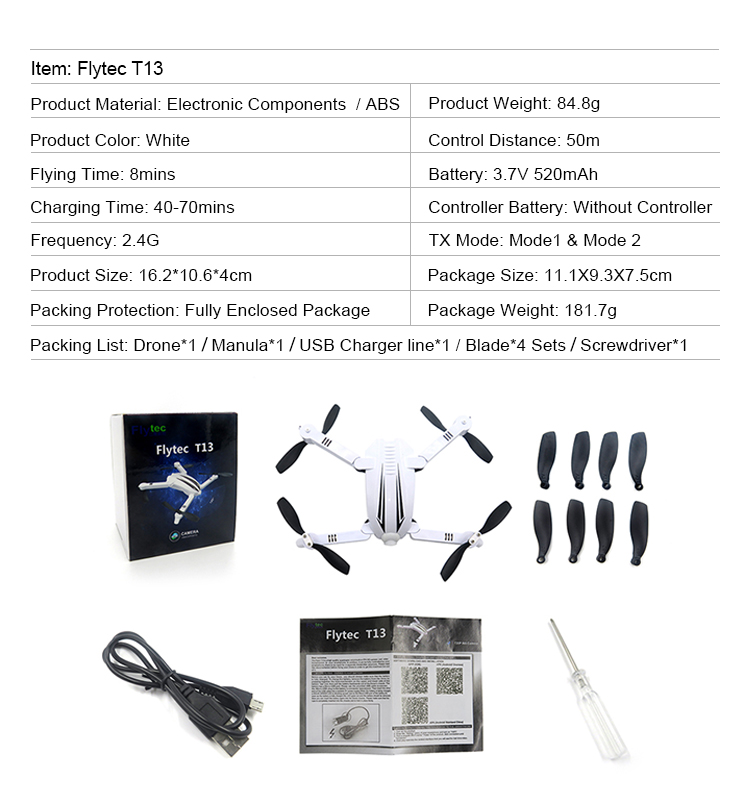 16. T13_White_Foldable_Mini_Selfie_Drone_with_720P_Wide_Angle_HD_Camera