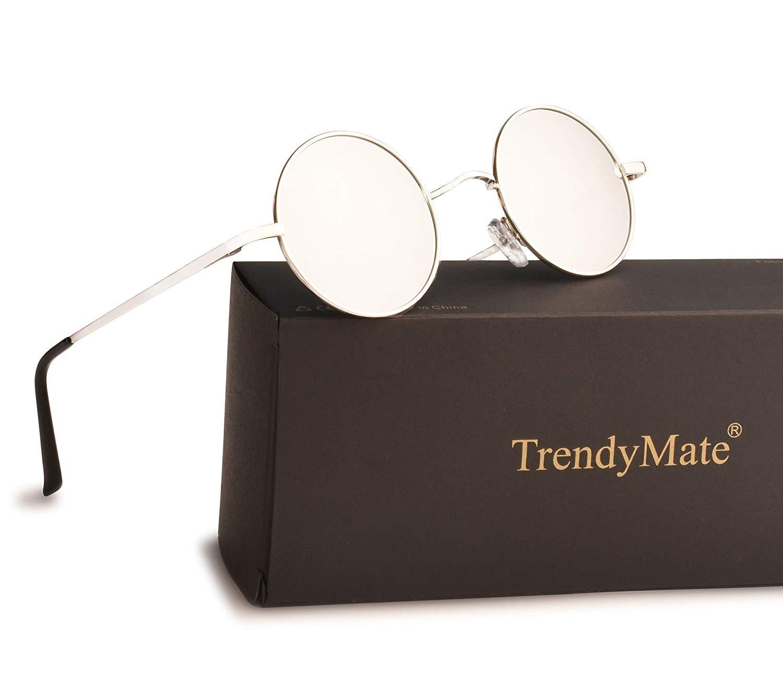 TrendyMate John Lennon Retro Round Polarized Hippie Sunglasses Small Circle Steampunk Sun Glasses