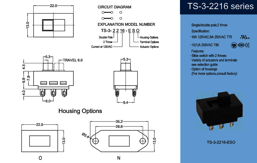 High quality 3 position slide switch with UL CUL ETL CE LVD TUV CQC safety approval