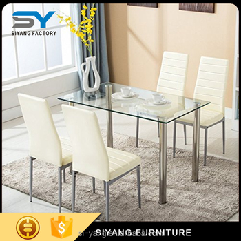 Low Price Tempered Glass Top Simple Design Dining Table Ct014 - Buy ... 45dfe95afcae