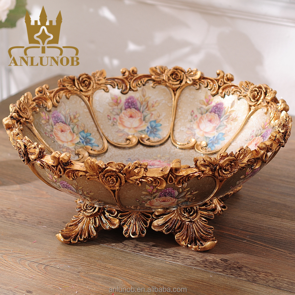 European retro luxury ceramic fruit plate porcelain crafts home decor furnishings living room coffee table ornaments Chaozhou