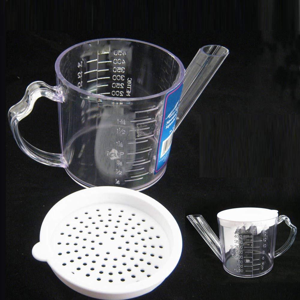 Gravy Oil Fat Separator Measuring 2 Cups w/ Strainer Seperator Measurer Kitchen