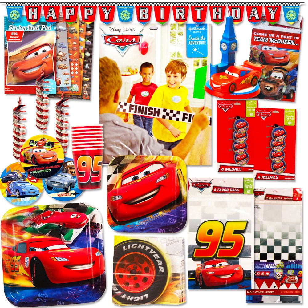 Disney Cars Party Supplies Ultimate Set 134 Pcs Birthday Decorations