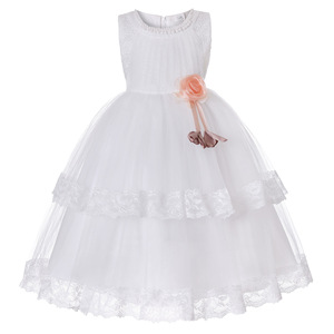 clothes kids girl lace dress fabric embroidery sleeveless flower bead tiered tutu dress party birthday wedding long dress