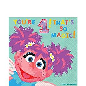 Amscan Sesame Street 1st Birthday Abby Cadabby Luncheon Napkins Party Supplies Small Teal